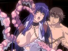 【エロアニメ 3P】堕天使たちが魔物の触手に凌辱的レイプをされまくり