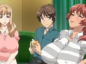 【エロアニメ めがね】同じマンションに住む巨乳なヤリマン妻と中出し性交!