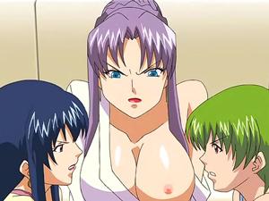 【エロアニメ 3P】「もう枯れちゃったのぉ?」実母と義母の激しいチンポ争奪戦