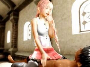 【エロアニメ ベッド】「そんな‥っ!激しすぎだよぉ‥」FF13の妹キャラとベッドでイチャパコ!