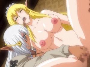 【エロアニメ 3P】エルフのお姫様に褐色エルフが生チンポの快楽を教える性教育w