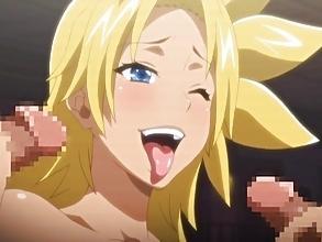 【エロアニメ 3P】「チンポいっぱいで嬉しいよぉw」真性ヤリマンな巨乳JKが円交パコw