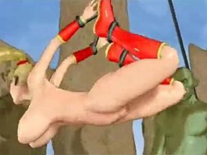 【エロアニメ 3P】オークに捕まって陵辱され大量潮吹き→拘束中出し3P
