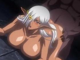 【エロアニメ お姫様】褐色肌の巨乳エルフが膣奥まで激しく突かれアヘイキ絶頂
