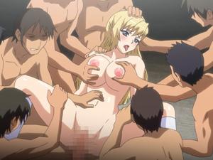 【エロアニメ JK】まだ成長途中な白肌JKのどギツイマンコを大量チンポで輪姦レイプ