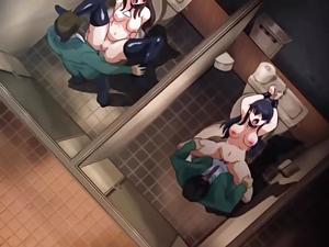 【エロアニメ 3P】トイレに誰でも利用できる肉便器のある学園