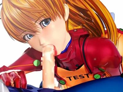 【エロアニメ フェラ】「馬鹿シンジのチンポ美味しい♪」フェラチオ奉仕をするアスカ