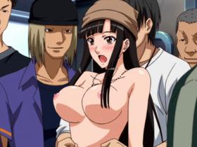 【エロアニメ 巨乳】巨乳の美少女娘が鬼畜な痴漢集団に強引に犯されてしまう